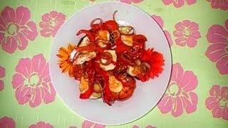 Теплый овощной салат с сулугуни, легкий рецепт
