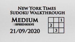 New York Times Medium Sudoku Speed Solve - 21/09/2020