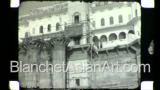 Rare video of India in the 1920's: bathing rituals in the Ganges river by the Ghats of Varanasi