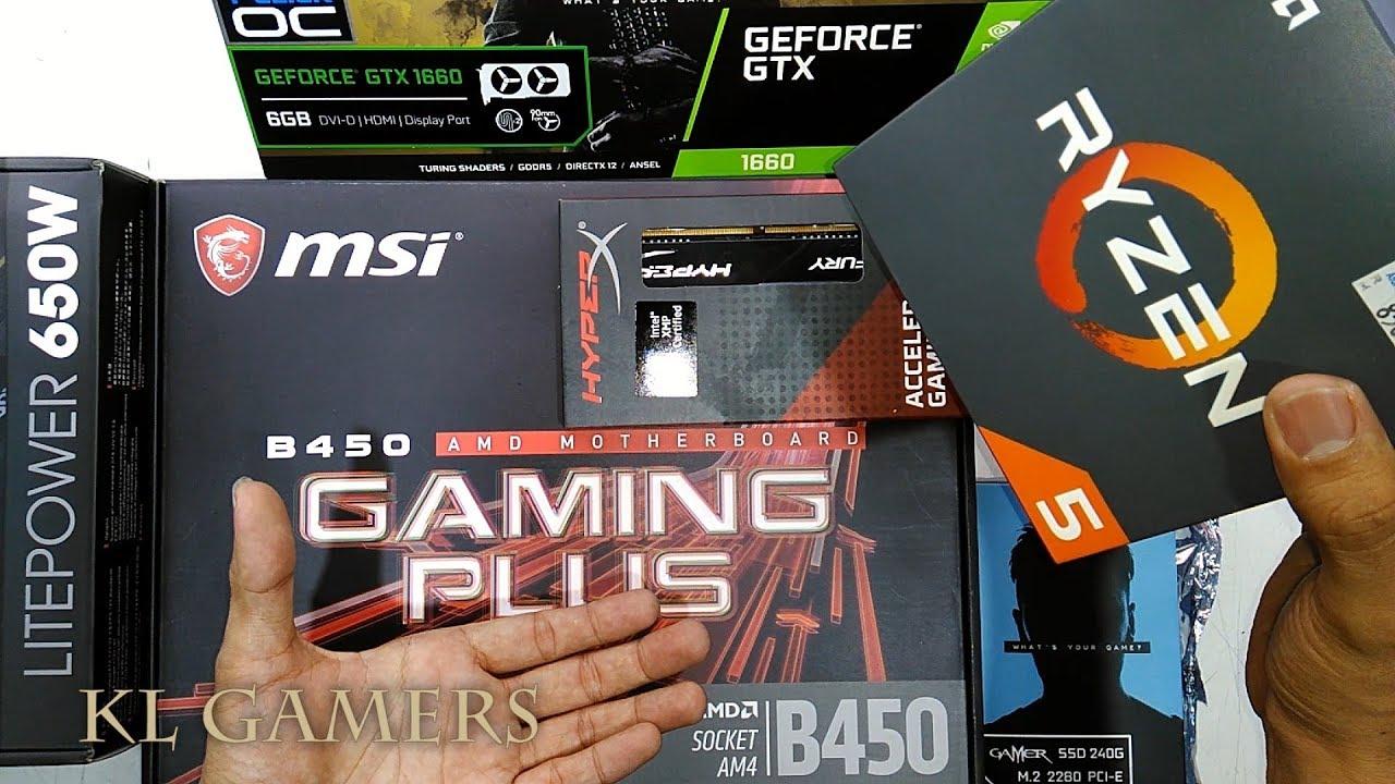 AMD Ryzen 5 2600 msi B450 GAMING PLUS Hyper-X DDR4 GALAX GAMER SSD NVIDIA  GTX 1660 Gaming RIG 2019