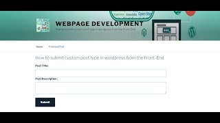 How to submit custom post type in wordpress from the Front End Part   1