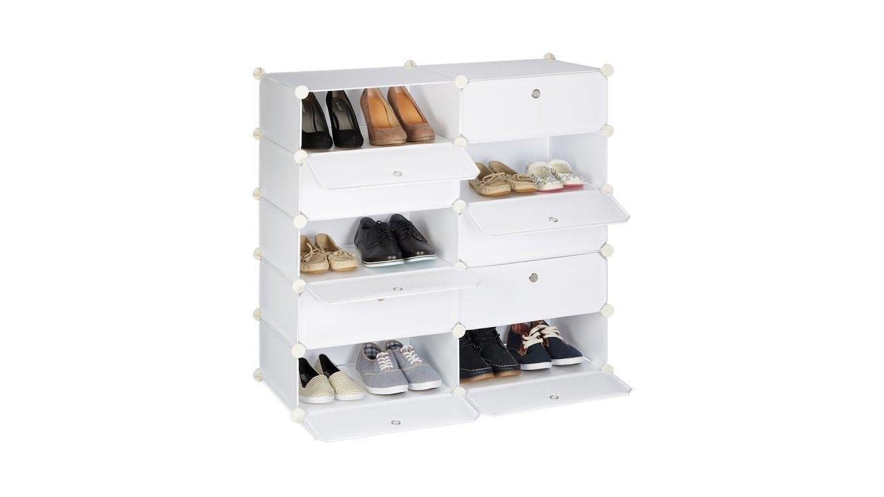 schuhschrank mit 10 f chern youtube. Black Bedroom Furniture Sets. Home Design Ideas