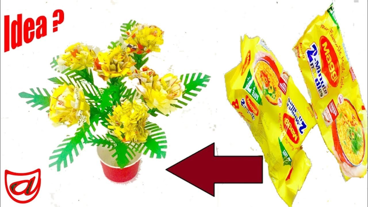 Best craft from used maggi packets diy crafts ideas from for Showpiece from waste material