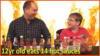 12-yr-old eats 14 Hot Sauces - Extract, Carolina Reaper, Scorpion, Ghost, 7 Pot : Crude Brothers