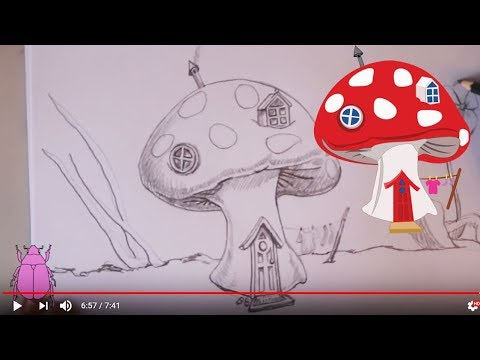 How to draw a fairy mushroom house youtube for Fairy on a mushroom drawing