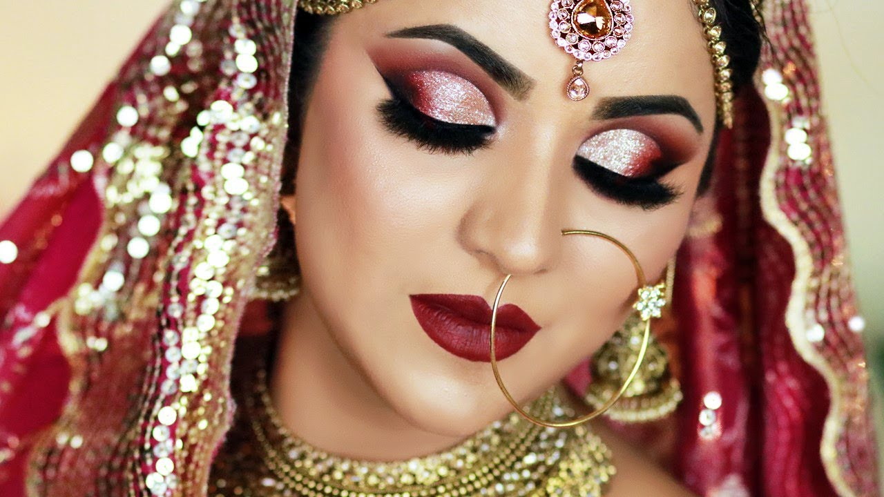 traditional indian bridal makeup ( hindi)   bronze glitter cut crease and dark red lipstick