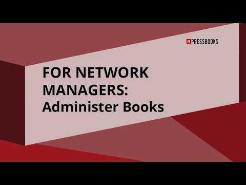 Administer Books on a Pressbooks Network