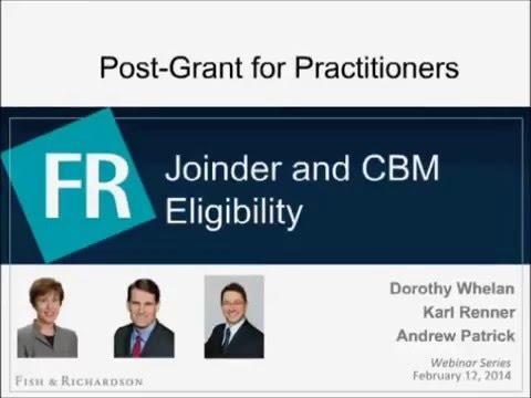 Webinar   Joinder and CBM Eligibility