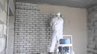 Штукатурка поверхности стен машинным способом от начала до конца.