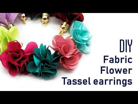 DIY Fabric flower tassel charms earrings | jewelry for beginners  | Beads art