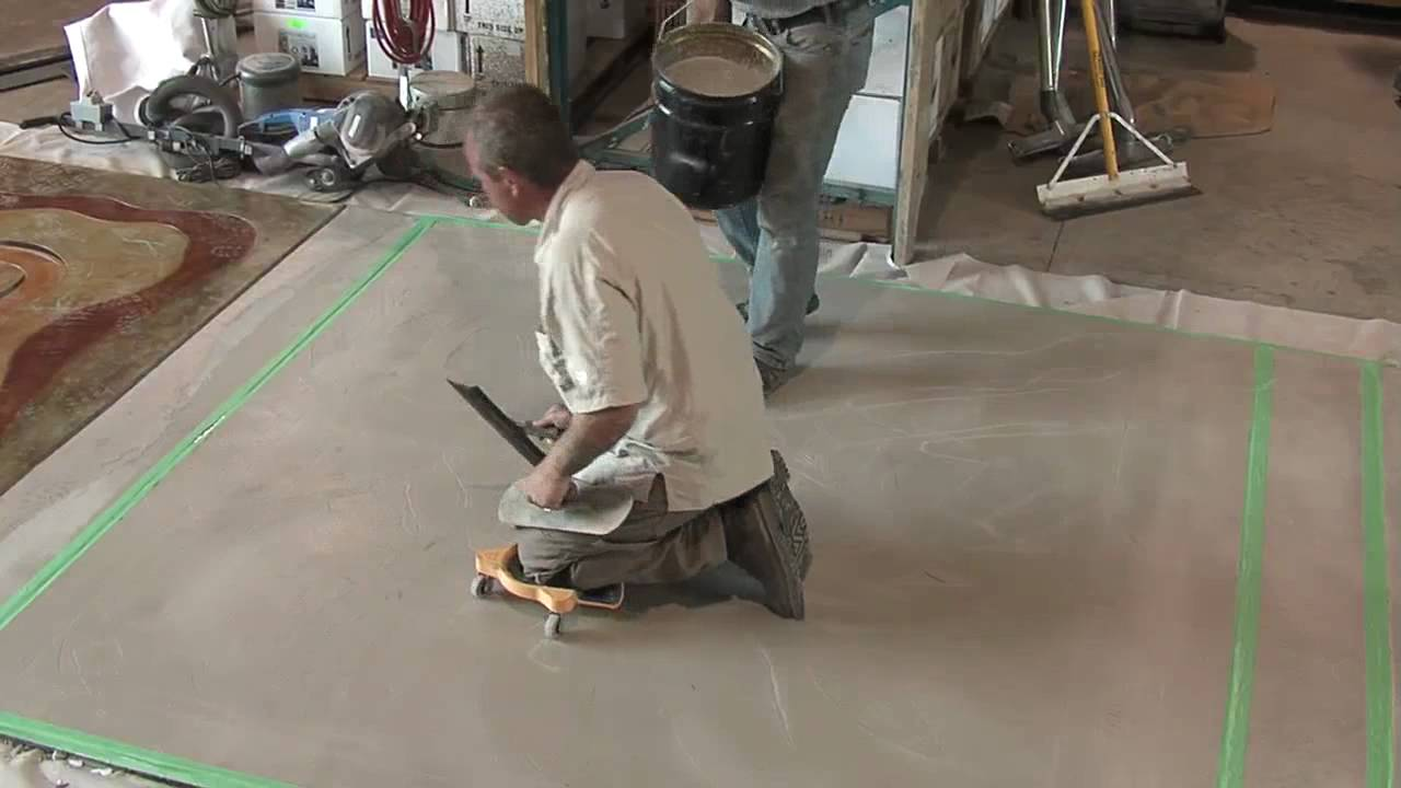 Concrete overlays microtopping application youtube for Microtopping costi