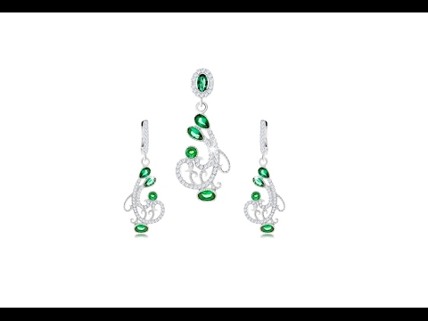Jewellery - Earrings and pendant set, 925 silver, spiral ornament, clear and green zircons
