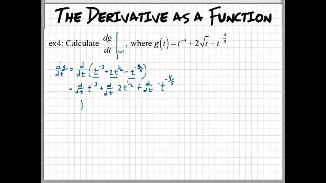 Finding the derivative at a given value youtube