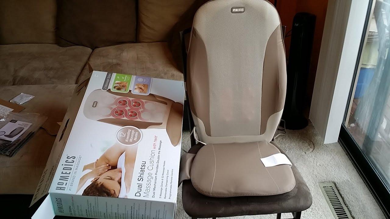 HoMEDICS Dual Shiatsu Massage Cushion with Heat  YouTube