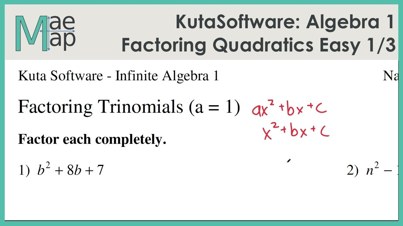 Kutasoftware Algebra 1 Factoring Quadratic Polynomials Easy Part 1
