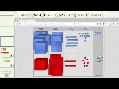 Subtract 4 Digit Whole Numbers Using Base 10 Blocks