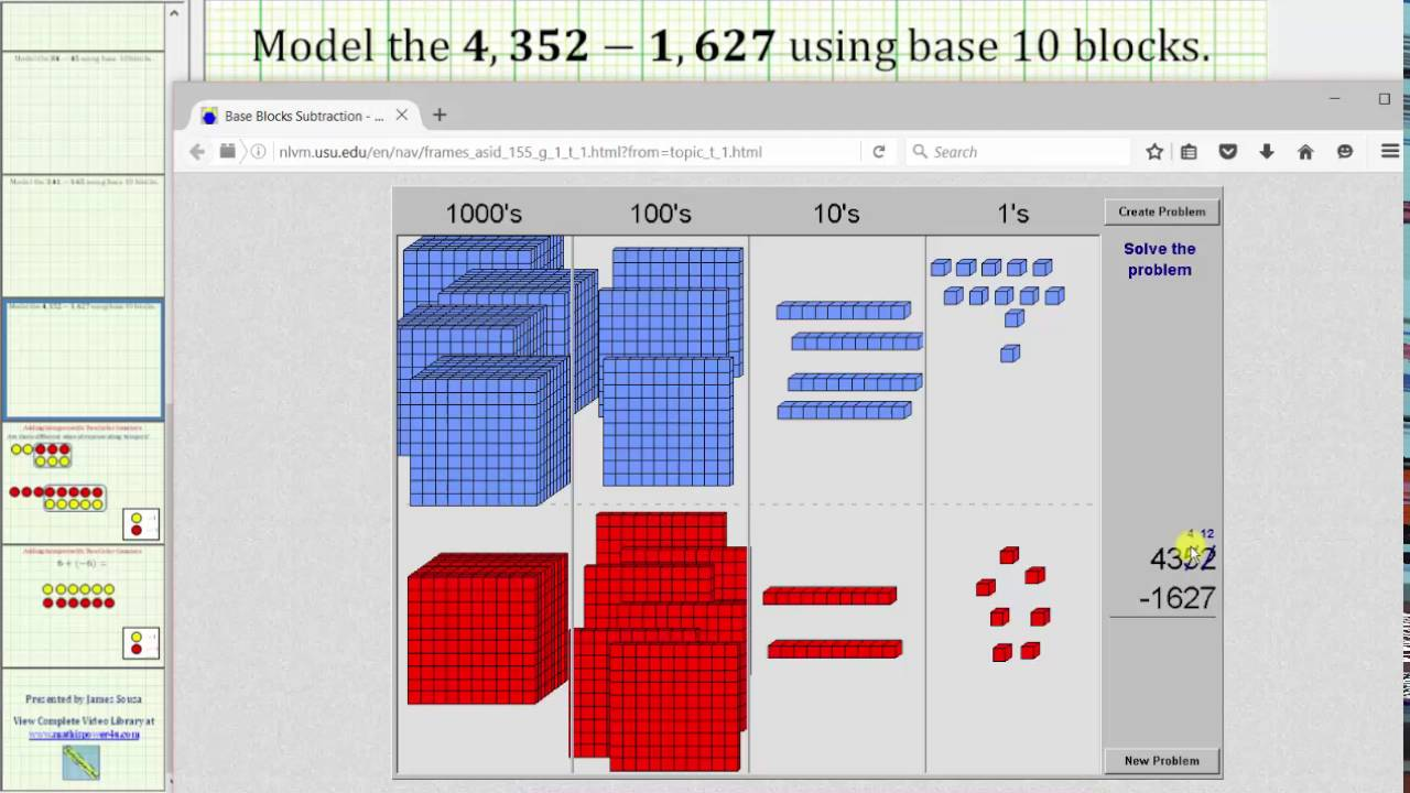 Subtract 4 Digit Whole Numbers Using Base 10 Blocks - YouTube