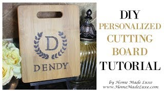 DIY Monongram Cutting Board Tutorial by Home Made Luxe Craft Subscription Box