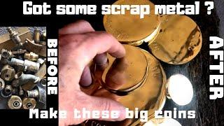 Steel Molds - Big Brass Medallions - Trash To Treasure - Scrap Bin Search - Brass Melt