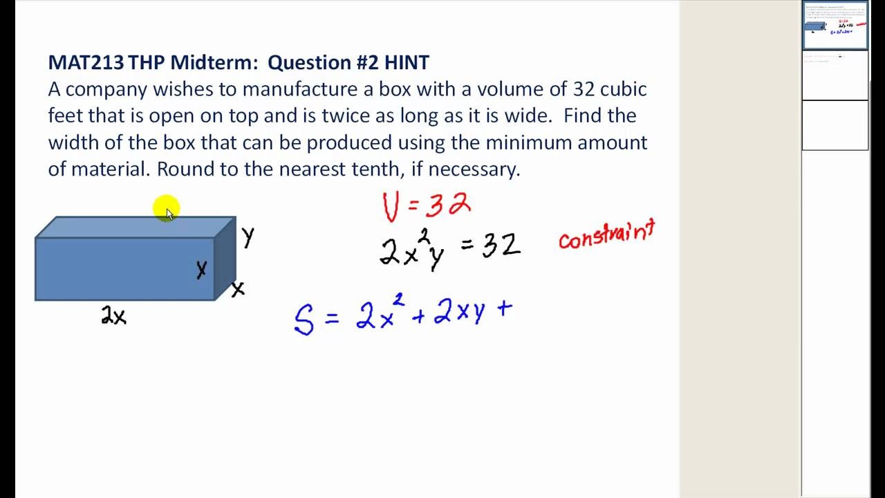 Minimize The Surface Area Of A Box With A Fixed Volume