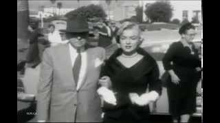 Footage of Marilyn Monroe at court to divorce Joe Dimaggio 1954