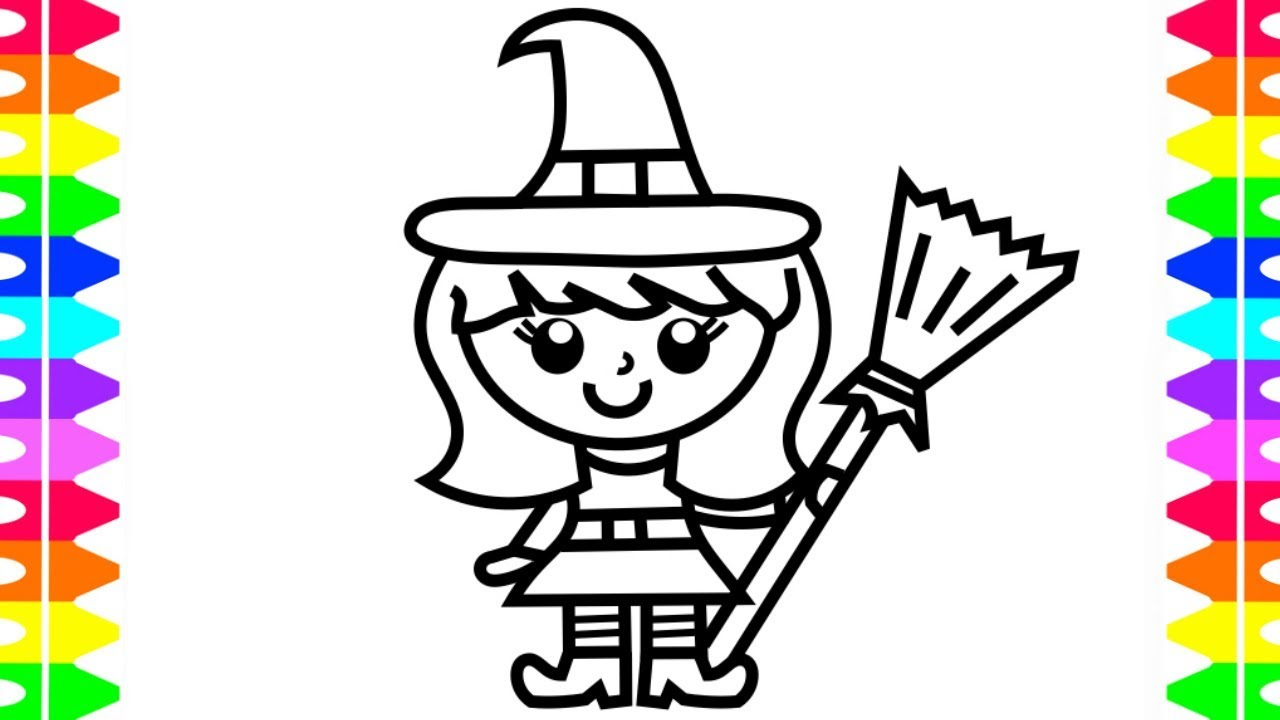 HAPPY HALLOWEEN COLORING Learning How To Draw A Girl Witch Costume