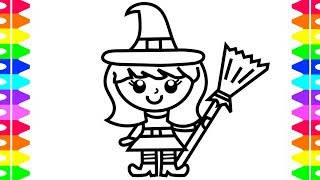 HAPPY HALLOWEEN COLORING!! Learning  How to Draw a Girl Witch Costume! Coloring Book for Kids 🎃 🎃