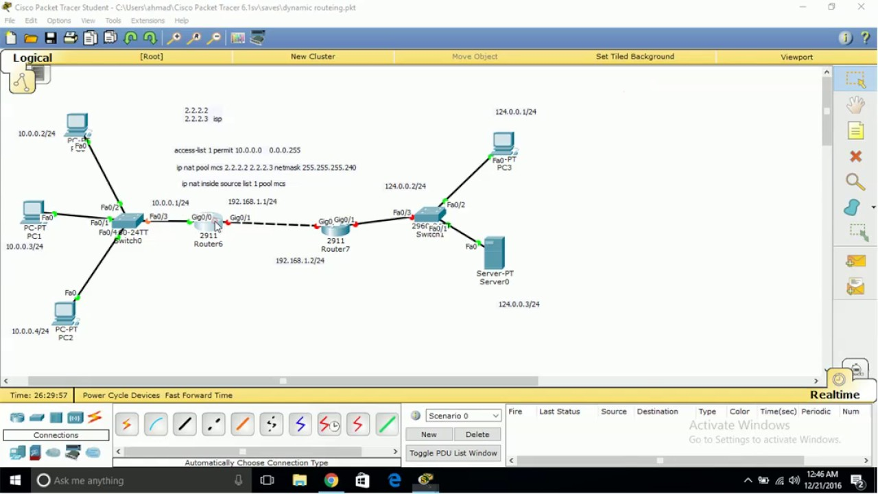 how to dynamic nating configuration step by step in cisco packet tracer in urdu hindi