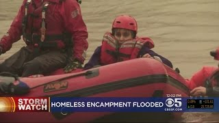 COYOTE CREEK FLOODING: Fast-rising waters flood large homeless encampment; 5 rescued