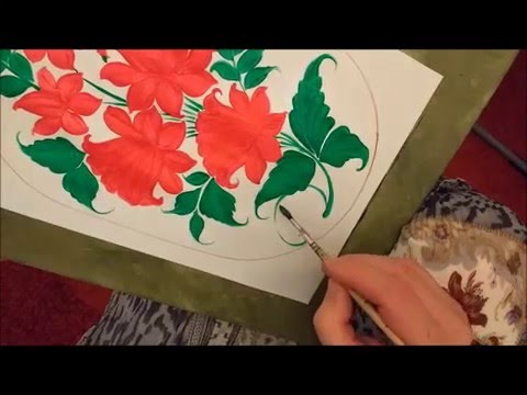 Образец росписи для разделочной доски. Узор красные цветы.