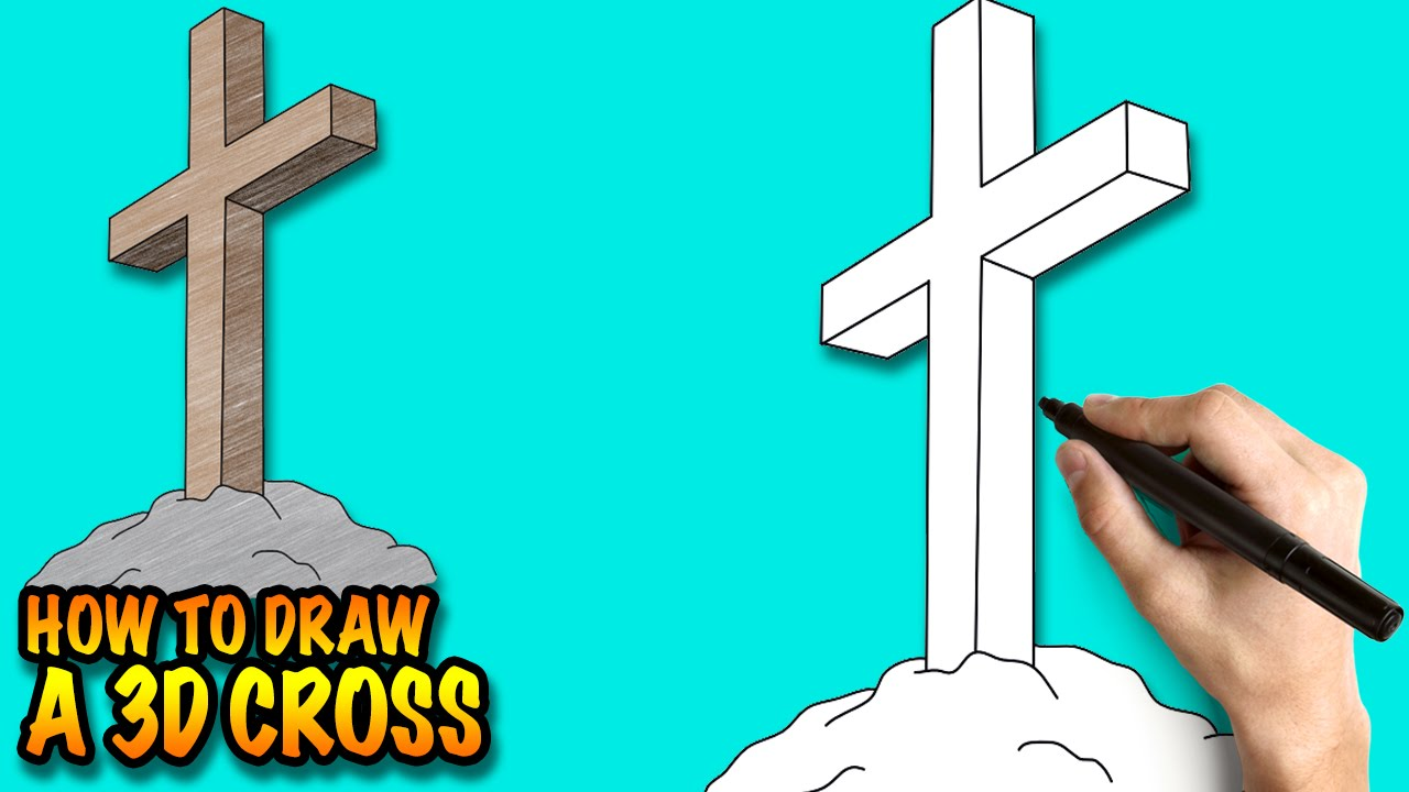 how to draw a 3d cross easy step by step drawing lessons for