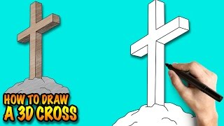 How to draw a 3D Cross - Easy step-by-step drawing lessons for kids