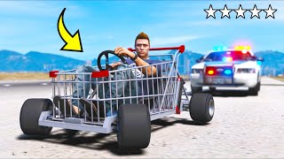 I ESCAPED the cops in this SHOPPING CART!! (GTA 5 Mods)