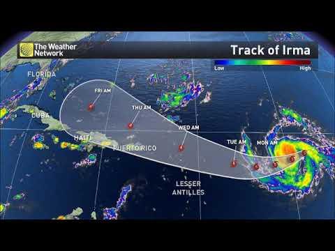 Hurricane Irma path over the Atlantic Ocean and Hurricane Season 2017 map