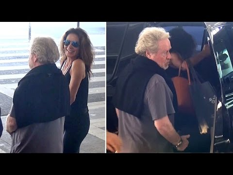 Ridley Scott And Sexy Wife Giannina Facio Arrive In Los Angeles