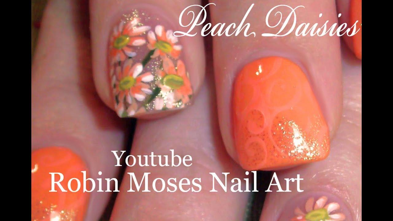 White Daisy Nails Peach Coral Daisies Nail Art Design Tutorial