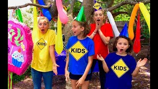 Learn English Colors! Surprise Balloon Party with Sign Post Kids!