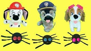 Aprende con juguetes de Paw patrol en Halloween y los bebés a hacer galletas en forma de araña
