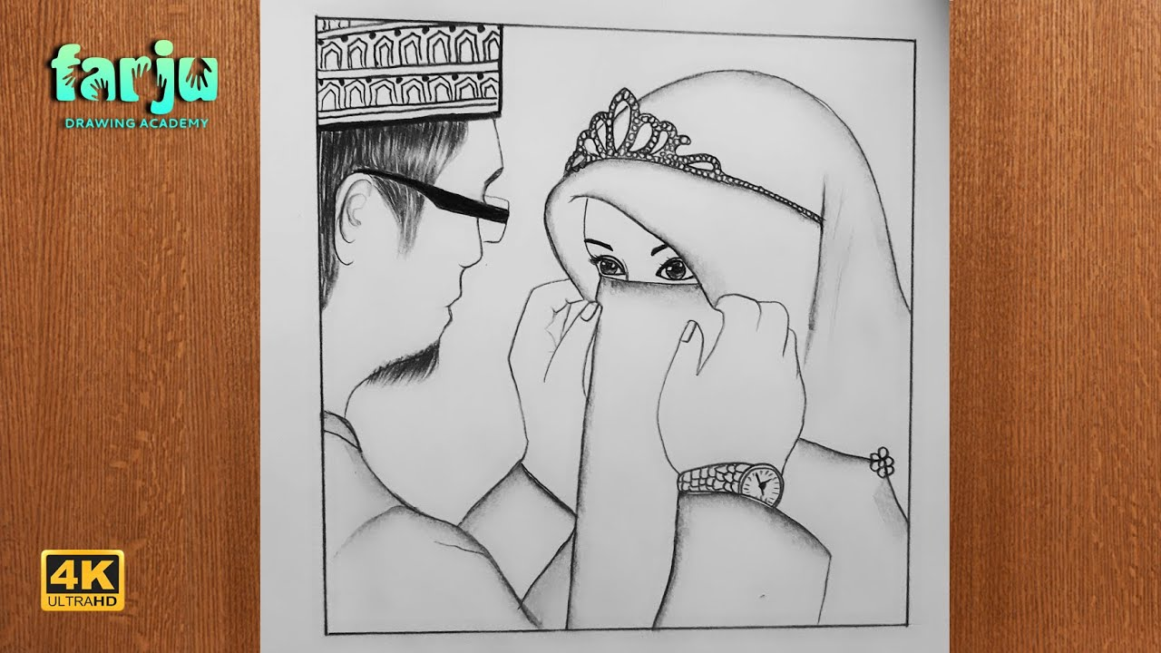 How To Draw Happy Muslim Couple Pencil Sketch Farju Drawing Academy Youtube