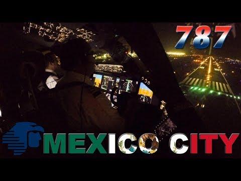 Flightdeck BOEING 787-9 Night Landing Mexico City