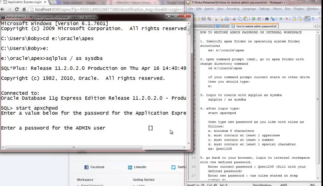 Step by Step Guidance to Reset Internal Admin Password on