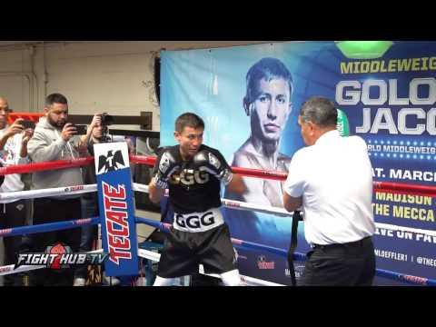 Golovkin vs. Jacobs- The Full Gennady Golovkin Media Workout video