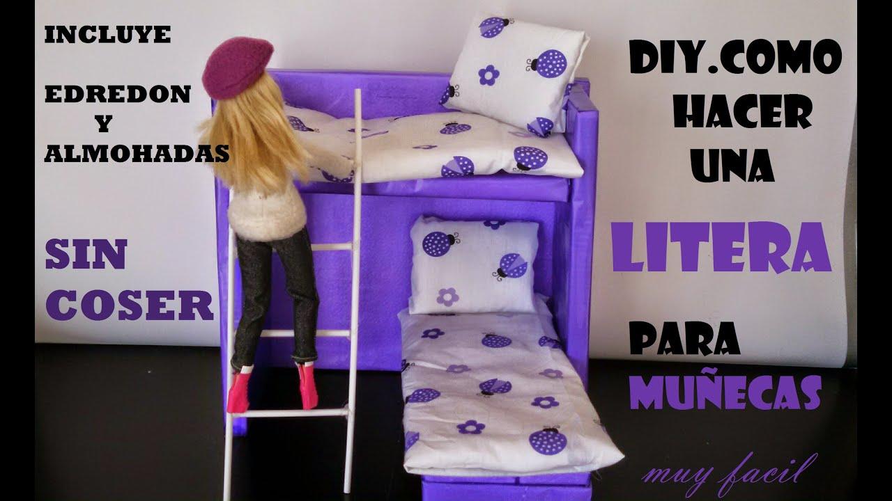 como hacer una cama litera para muecas edredon y almohadas