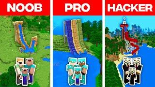 Minecraft NOOB vs PRO vs HACKER: FAMILY WATER SLIDE BUILD CHALLENGE in Minecraft (Animation)