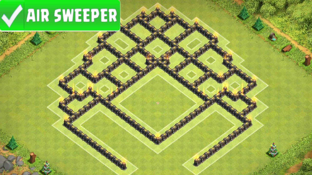 Clash of clans best air sweeper th8 southern teaser trophy base