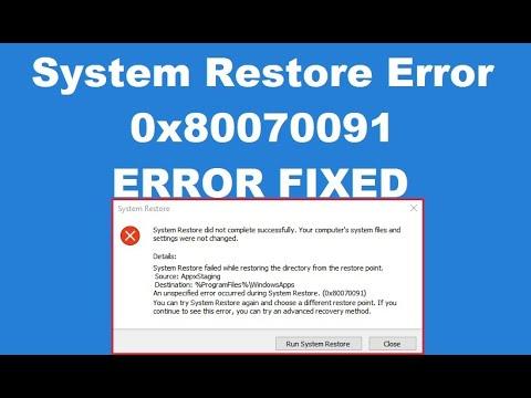 How to fix System Restore Error 0x80070091