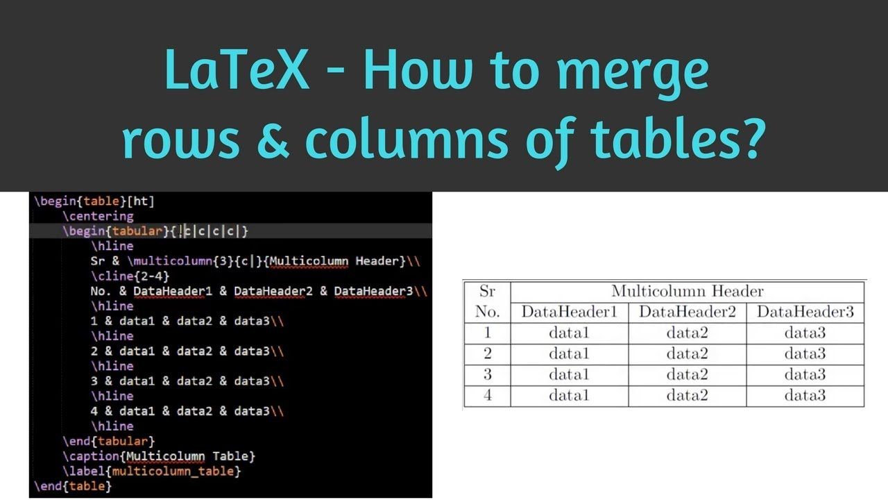 How to merge rows and columns of tables in LaTeX | Learn Latex 06