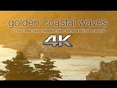 4K Nature Screensaver: Golden Big Sur Coast, California | 1 HR Scene UHD (Amazing Sounds!)