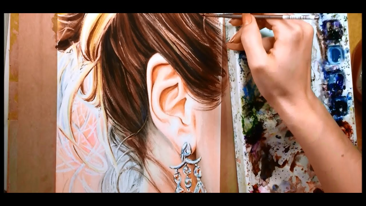 paint hair and ears - watercolor