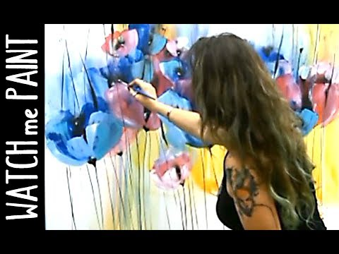 Acrylicpainting Demo Timelapse painting - abstract painting floral art by zAcheR-fineT